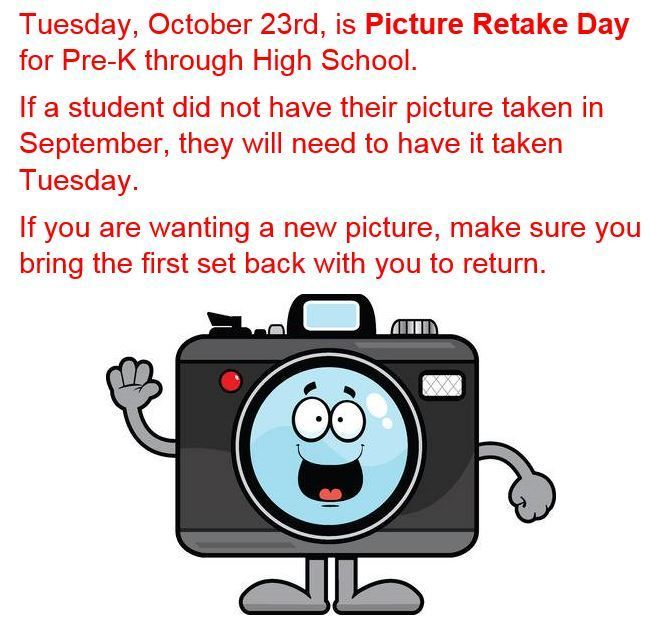 Picture Day, Tues Oct 23