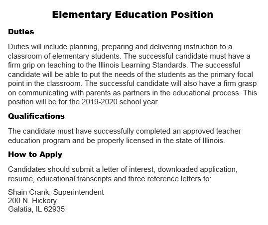 Elementary Education Position