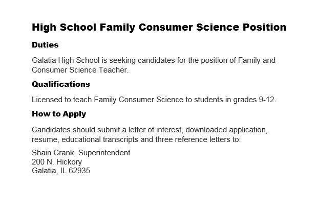 HS Family Consumer Science Position