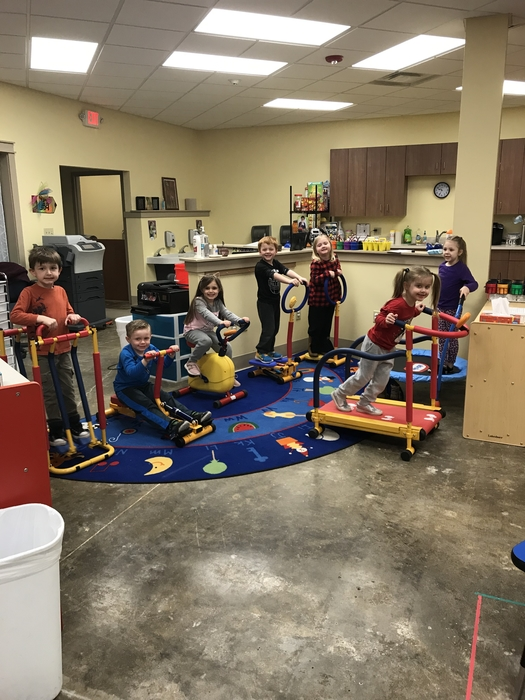PreK is working hard and getting fit!