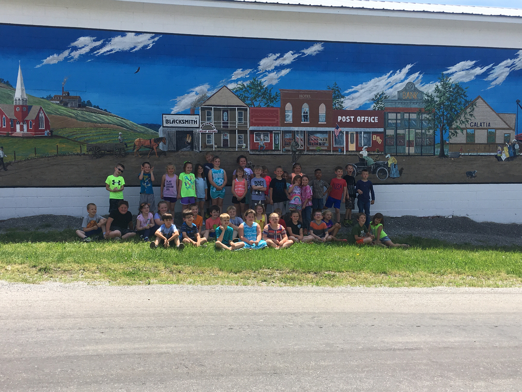 First graders visiting the library, the town mural, and ROC for ice cream.