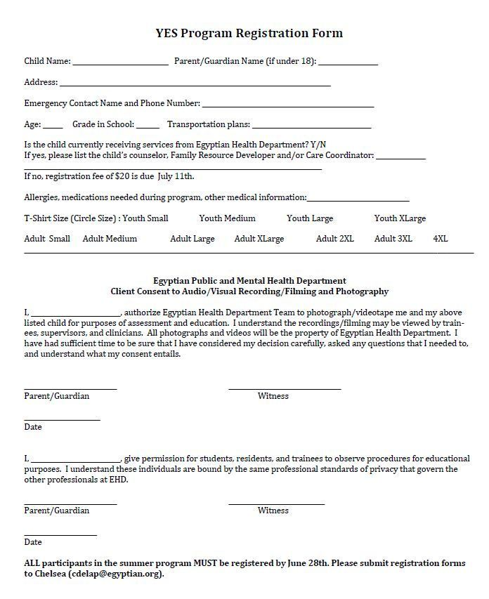 Youth Empowerment Summer Program Registration Form